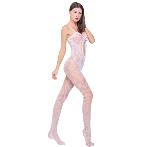 Ailin home- Europa und die Vereinigten Staaten sexy sexy hohlen Spitze Jacquard Bogen offenen Gabelung Stück Netz Kleidung Weiß