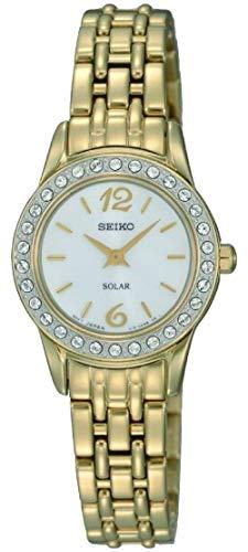 Seiko Damen Analog Solar Uhr mit Edelstahl Armband SUP128P9 - Damen 5 Uhr Automatik Seiko