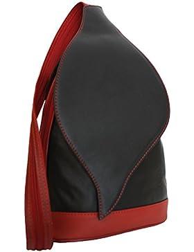 Sa-Lucca echt Leder Damenrucksack 6924-s-r City-Rucksack Handtasche Damentasche MADE IN ITALY