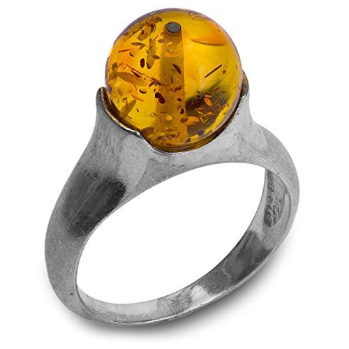 Anello rotondo, argento sterling e ambra, Argento, 59 (18.8), colore: Orange, cod. 33687h-9