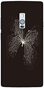 Snoogg Butterly Graphic Designer Protective Back Case Cover For One Plus Two