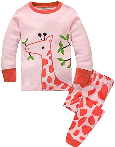 8171f35f905 Girls Pyjamas Set Toddler Clothes 100% Cotton Sleepwear Animal Printed Pink  Giraffe Nightwear Winter Long