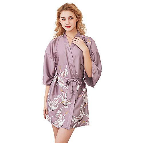 Kimono Mujer Batas, Bata Satén Estampado Floral Vestido