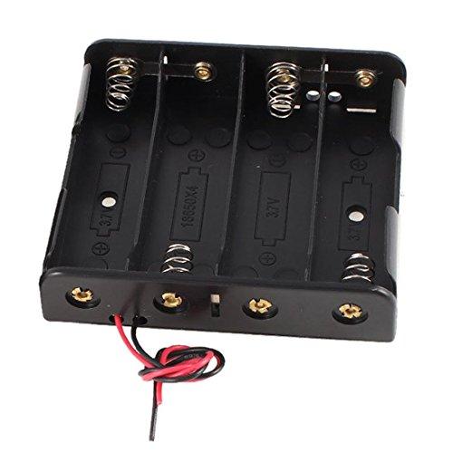 TOOGOO(R) 2 Pcs Noir Plastique Etui Support a Batterie avec Fil pour 4 x 18650 14.8V