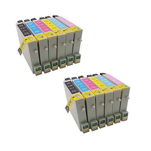 Preisvergleich Produktbild Generisches Kompatible Tintenpatrone als Ersatz für Epson T0481 T0482 T0483 T0484 T0485 T0486(2x Schwarz, 2x Cyan, 2x Magenta, 2x Gelb2xLight Cyan,2xLightxMagenta, 12er-Pack)