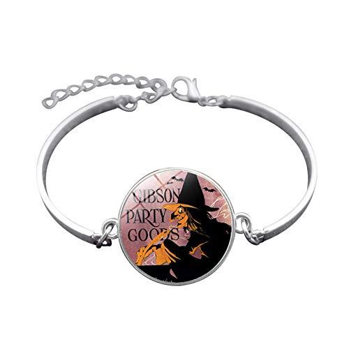 Blisfille Handgemachte Halloween Hexe Zeit Gem Armband Silber-Legierung Armband Armband Damen Herren Karnevalsfeier