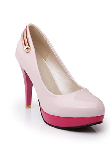 WSS 2016 Chaussures Femme-Bureau & Travail / Décontracté-Noir / Rose / Blanc / Amande-Talon Aiguille-Talons / Bout Arrondi-Talons-Cuir Verni pink-us9 / eu40 / uk7 / cn41