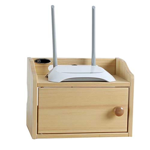 Scaffale in legno massello ripostiglio wifi scatola di immagazzinaggio soggiorno camera da letto desktop cavo di alimentazione finitura scatola di immagazzinaggio giocattolo artwork espositore