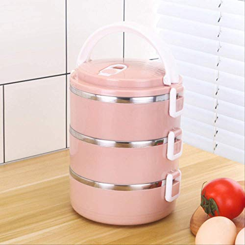 1pcs Portable stainless steel sealed insulated lunch box bento box multi-layer soup bowl double Pink