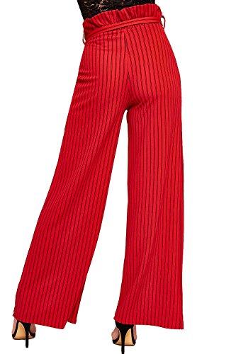WEARALL - Femmes Rayé Belted Pantalon Sac En Papier Large Évasée Jambe Dames Crêpe Pantalon - 34-42 Rouge