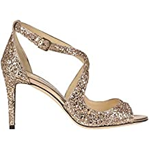 65c2cbd33c3 Jimmy Choo  Emily  Glittered Leather Sandals Woman