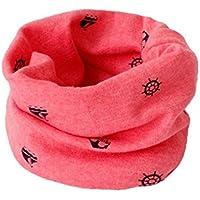 Bufanda BIGBOBA de puro algodón para niños. Bufanda calentadora de cuello para viajar al aire libre en otoño y en invierno, algodón, Rojo, 40*20cm