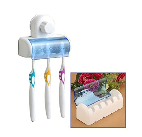 Portacepillos de dientes adhesivo de pared para 5 cepillos y tapa color azul