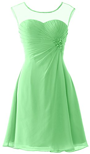 MACloth Women Short Bridesmaid Dress Cap Sleeve Cocktail Party Formal Gown Minze