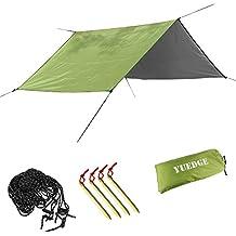 YUEDGE 3m x 3m Lona Rainfly Portátil Ligero Impermeable Tarpaulin Cubierta de la Lluvia Tienda de Campaña Parasol Refugio Para Camping Senderismo Playa Picnic (L, Verde Militar )
