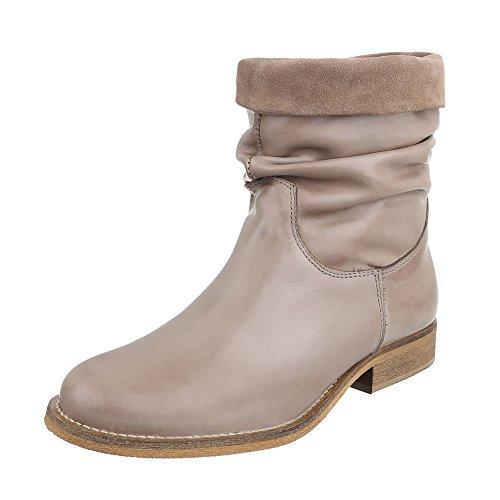 Komfort Stiefeletten Leder Damenschuhe Schlupfstiefel Blockabsatz Blockabsatz Ital-Design Stiefeletten Beige Grau