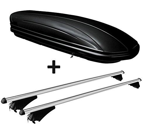 VDP Dachbox schwarz glänzend MAA320G günstiger Auto Dachkoffer 320 Liter abschließbar + Alu-Relingträger Dachgepäckträger für aufliegende Reling im Set für Hyundai Tucson (TL) ab 2015