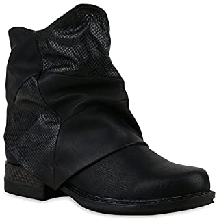 Damen Biker Boots Stiefeletten Prints Profil Sohle Block Absatz Schuhe 120891 Schwarz 39 Flandell