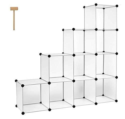 Homfa Schrank DIY Kleiderschrank Regalsystem Stufenschrank Bücherregal Weiß Ohne Türen 35x35x35cm