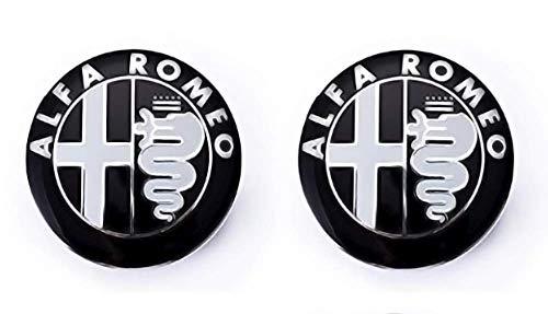 Emblem-Set für Motorhaube und Kofferraum 74 mm Ersatzteil. Schwarzes Abzeichen (2 Einheiten)