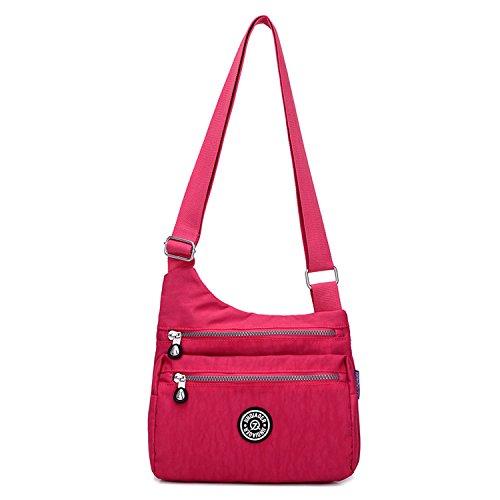 Outreo Kuriertasche Damen Taschen Umhängetasche Mode Schultertasche Leichter Wasserdicht Designer Messenger Bag Kleine Sporttasche für Mädchen Rot 2