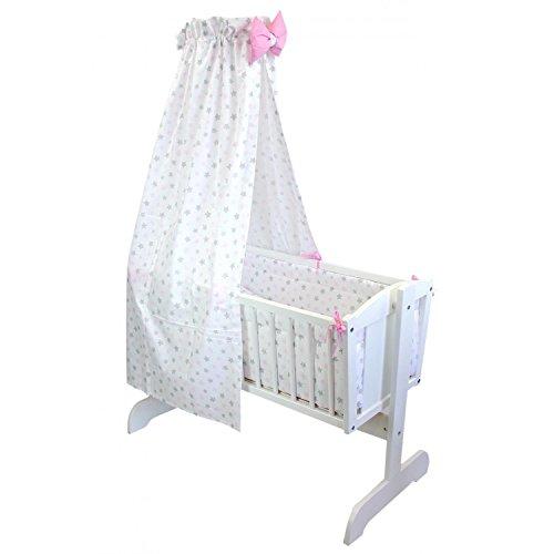 TupTam Unisex Baby Wiegen-Bettwäsche-Set 6-TLG, Farbe: Tupfen-Sterne Rosa/Grau, Anzahl der Teile:: 6 TLG. Set