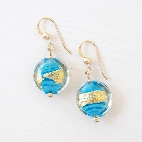 Diana Ingram blue pastel & gold Murano glass small oval