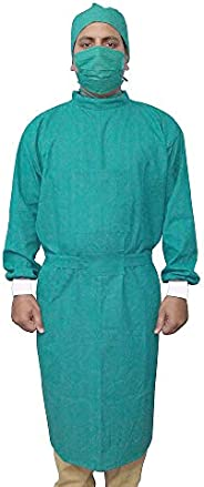 IS IndoSurgicals Reusable Cotton Surgeons Gown Set with Face Mask and Cap (Green)