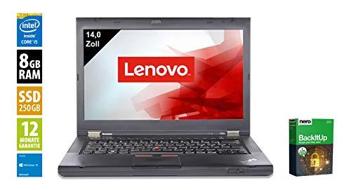 Lenovo ThinkPad T430 | Notebook | Laptop | 14,0 Zoll (1366x768) | Intel Core i5-3320M @ 2,6 GHz | 8GB DDR3 RAM | 250GB SSD | DVD-Brenner | Webcam | Windows 10 Home (Zertifiziert und Generalüberholt)