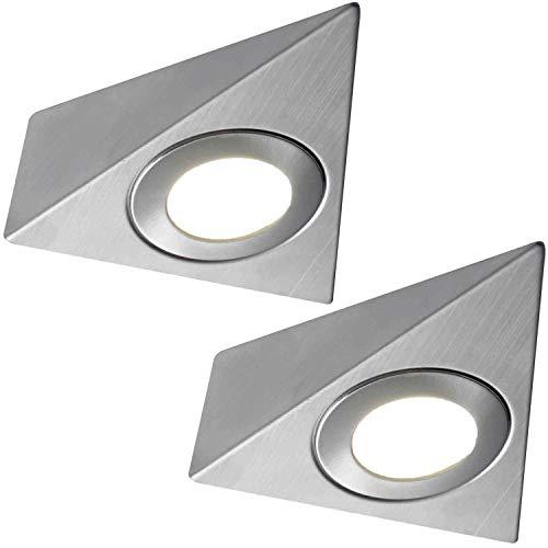 2x * 240V * Triangle LED Unter Schränke/Küche/Spots-gebürstetes Nickel & Natural weiß-Oberfläche montiert Arbeitsplatte Zähler Licht-Beleuchtung Beam Kit - Beleuchtung Zähler Küche