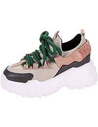 Zapatillas de Deporte Adulto,Mujeres Casual Plataforma Deportiva Aumentar Zapatos Altos Cabeza Redonda Cordones Plano snekers Zapatillas Air Cordones Zapatillas de Running Fitness Sneakers