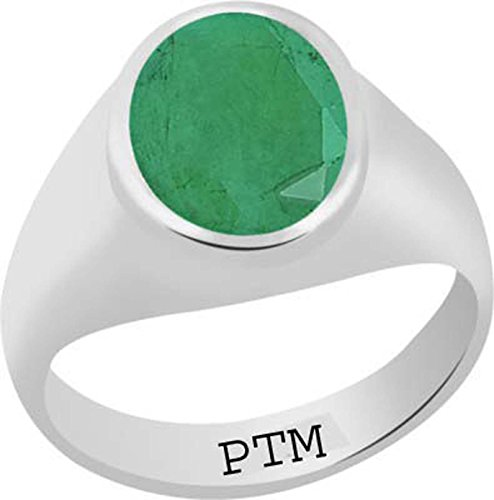 PTM Certified Natural 8.25 Ratti or 7.50 Carat Emerald (Panna) Astrological Gemstone Sterling Silver Ring