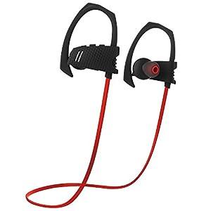 Ecandy Inalámbrica Bluetooth Auriculares Sport Sweatproof IPX4 Fit estable en la oreja los auriculares Ruido ergonómico del gancho del oído del receptor de cabeza Cancelación de auriculares estéreo de 6 horas de tiempo de trabajo con el Mic para el entrenamiento de la gimnasia Running (rojo)