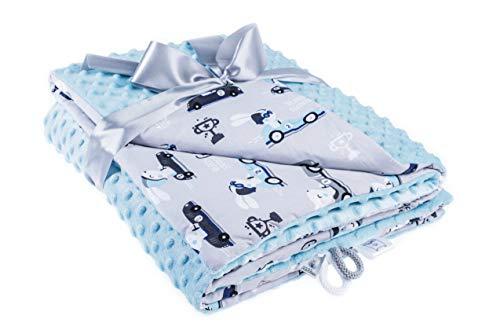 EliMeli Minky Babydecke Kuscheldecke Krabbeldecke | super weichem Minky Polar Fleece | Baumwolle | Füllung | 75x100 hoch Qualität (Blue - Blue Rabbits)