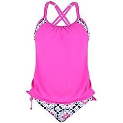FeelinGirl Damen Tankini Strand Bikini Set Bademode Stamm bedruckt Yoga Laufen Sport Top Bikini Oberteil + Hose 2-Teilig M Rosa