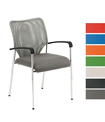 CLP Konferenzstuhl CUBA mit Stoffbezug und hochwertigem Sitzpolster | Besucherstuhl mit Armlehne und Metallgestell Grau