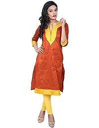 Indiwagon Raw Silk Orange Color Kurti