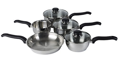 Ready Steady Cook Classic 5 Piece Stainless Steel Cookware Set, 14cm Milkpan, 16cm, 18cm, 20cm Saucepans with glass Lids and 24cm Frypan