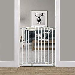 Callowesse® CARUSI 63-70cm - Barrière De Sécurité Étroite à Fixation Par Pression pour Portes et Escaliers. Fermeture Automatique (Blanc)