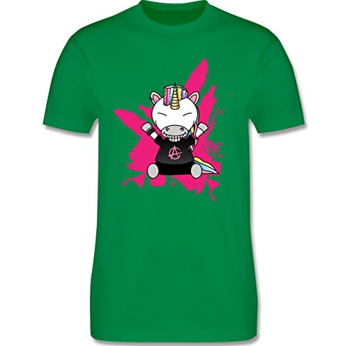 Comic Shirts - Punk Einhorn - Herren Premium T-Shirt Grün