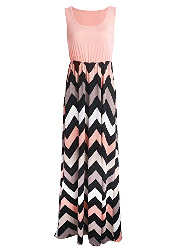Yidarton Sommerkleid Damen Lang Chiffon High Waist Striped Sleeveless Beach Kleid Partykleid Elegant (Medium, Rosa)