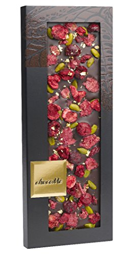 chocome-entree-exclusive-dark-chocolate-with-genuine-gold-flakes-rose-petals-sour-cherries-pistachio