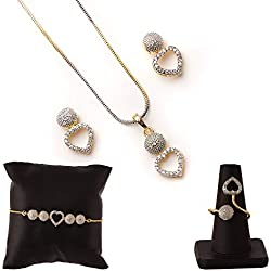 Zeneme American Diamond Traditional Fashion Jewellery Combo of Necklace Pendant Set/Ring/Bracelet with Earring for Women/Girls (Heart)