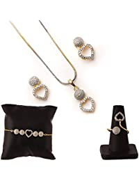 Zeneme American Diamond Traditional Fashion Jewellery Combo of Necklace Pendant Set/Ring/Bracelet with Earring for Women & Girls