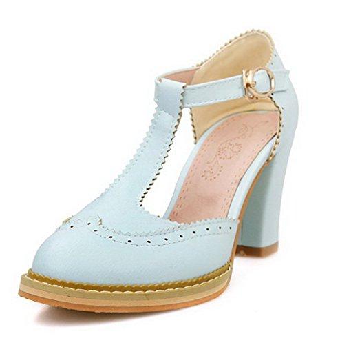 VogueZone009 Femme à Talon Haut Matière Souple Couleur Unie Boucle Rond Chaussures Légeres Bleu