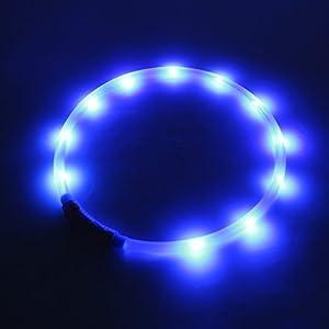 2-TECH LED Visio Collier lumineux Deluxe pour chiens et chats LED bleues Taille universelle 55cm