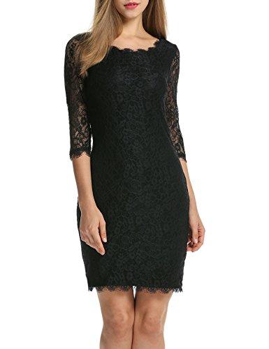 Beyove Damen Schulterfreies Spitzenkleid mit Knielang Langarm sexy Cocktailkleid Abendkleid Blumenkleid Partykleid Schwarz mit 3/4 Arm