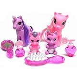 A to Z Einhorn und Pony 8-teiliges Spielset mit 4 Figuren und Zubehör für Kinder Mädchen ab 3 Jahren