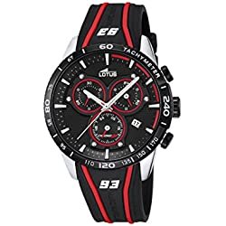Lotus Marc Marquez Collection 2016 Men's Quartz Watch with Black Dial Chronograph Display and Black Rubber Strap 18257/3