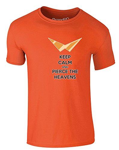 Brand88 - Keep Calm and Pierce the Heavens, Erwachsene Gedrucktes T-Shirt Orange/Transfer